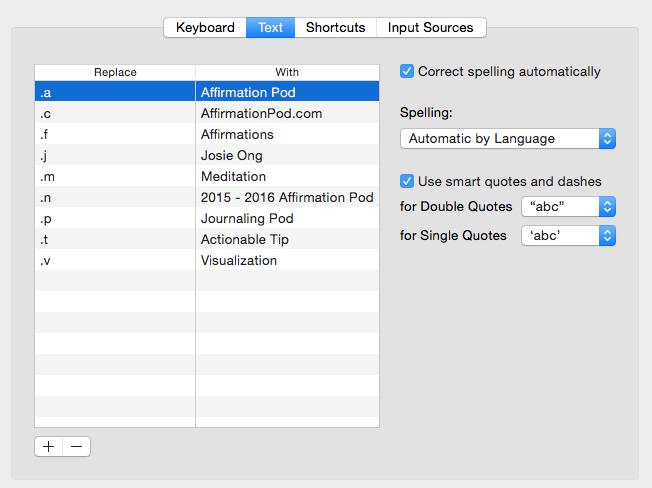 Affirmation Pod - Screen Shot - Keyboard Shortcuts