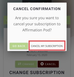 Affirmation Pod Premium Access Cancel Subscription